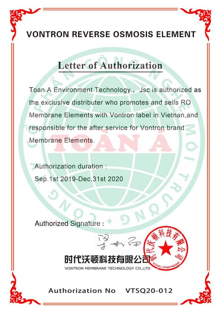 Toàn Á là đại lý phân phối màng lọc RO Vontron tại Việt Nam