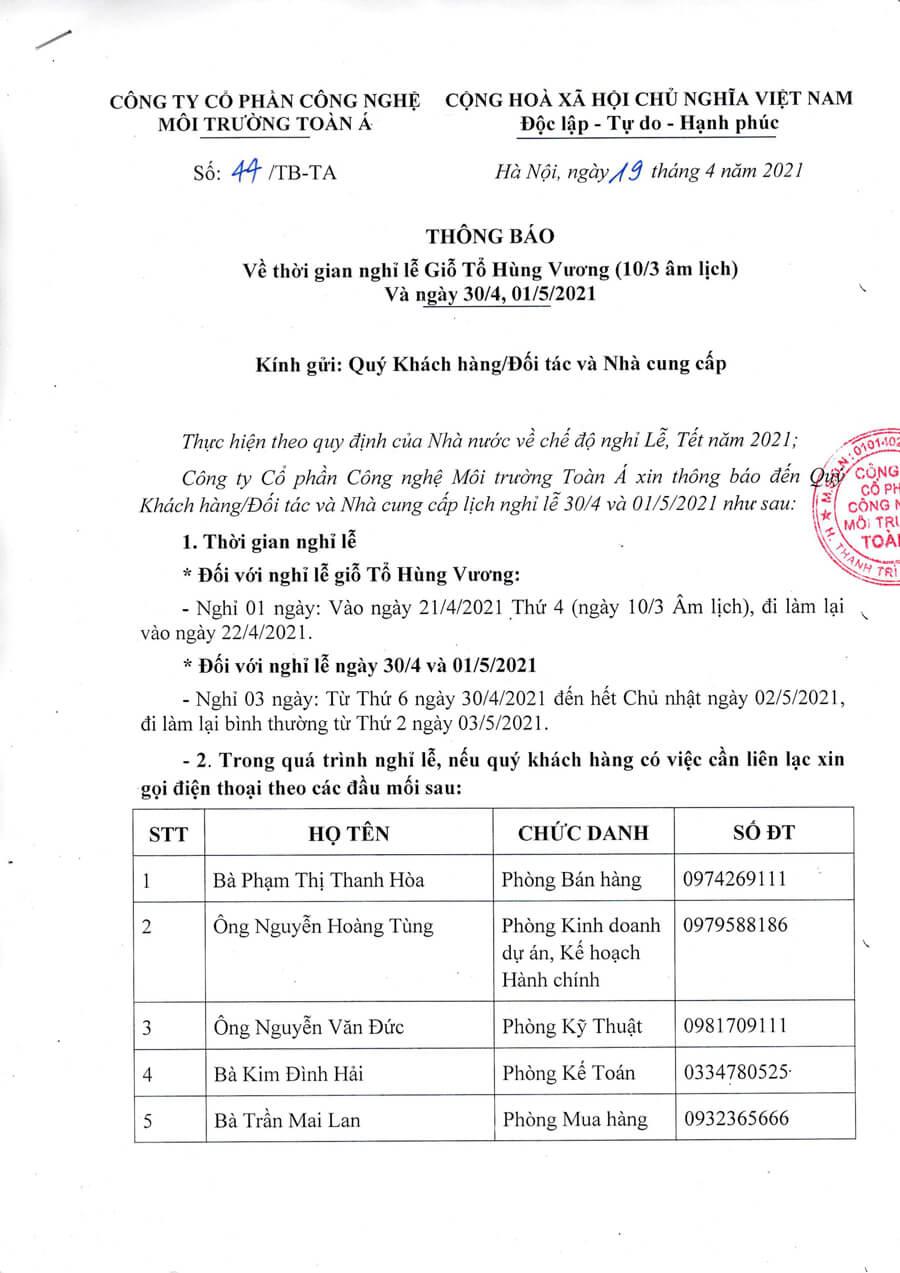 Thong Bao Nghi Le 10 3 30 4 2021
